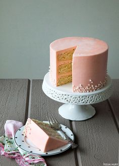 White chocolate cake with rose buttercream