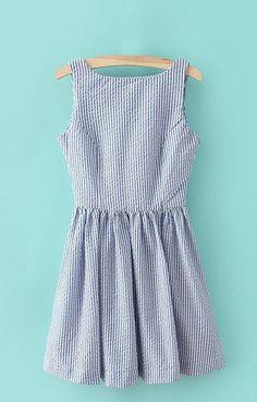 Summer Seersucker V-back Dress