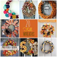 20 DIY Fall Wreath Ideas #fall #wreaths #decorating