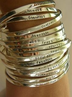 Inspiration Bangles hand stamped, letter, cuff, gift ideas, sleev, silver bracelets, sterling silver, bangles, bangle bracelets