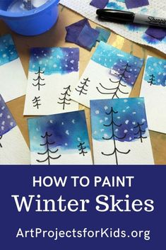 How to Paint Winter Skies (without Paint!) · Art Projects for Kids