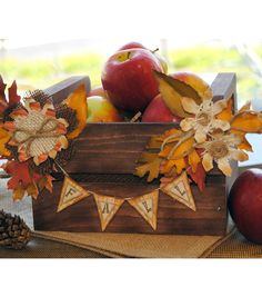 Fall Apple Crate | #Fall Centerpiece Ideas | Fall Decorations