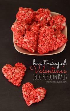 Heart-Shaped Valentine's Popcorn Balls via momendeavors.com
