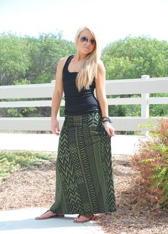 Olive Tribal Print Maxi - love this color