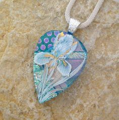 Fused Glass Flower Pendant Dichroic Fused Glass by GlassCat, $30.00