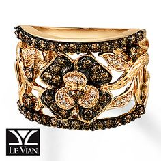 Chocolate Diamonds® Ring  7/8 ct tw Round-Cut 14K Honey Gold™