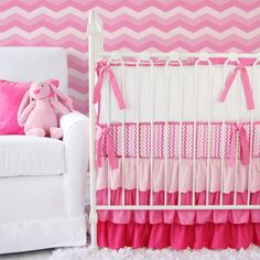 Perfect #pink #chevron #CribBedding from our favorite Caden Lane #nursery