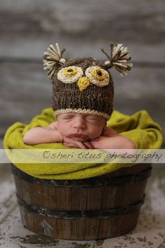 Lil Who Owl  Brown Tweed Baby Boy or Baby Girl by ForStitchesSake, $16.50