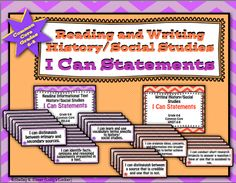 """$Objectives and standards can be challenging for students to understand.  """"I Can"""" statements are a student friendly alternative.  This pack contains """"I Can"""" statements for each of the 6th - 8th  grade Reading & Writing History/Social Studies Common Core Standards.  Each statement is approximately 4 1/4 X 11"""" and will fit nicely into a small pocket chart. Print this set on 8.5 X11"""" letter size paper and cut into strips."""