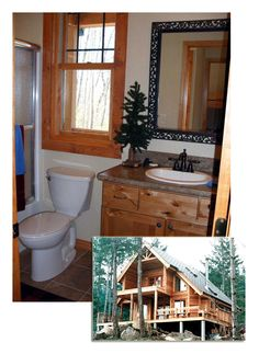 #HousePlan 76001 is the perfect little mountain vacation house with 1154 square feet of living space, 2 bedrooms and 2 bathrooms. This little main floor #bathroom is right off the entry and measures 5' x 9' with beautiful rustic wooden window frames to match the vanity.