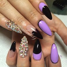 Black and purple stilettos with gems