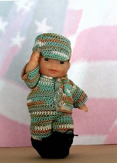 """Lil'Soldier crochet pattern for 5"""" Doll"""