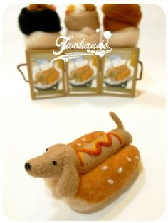 Sausage dog hamburgers wool felt material kit