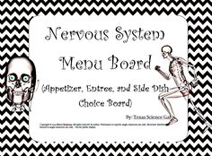 This is a menu board (think appetizer, entree, side dish) that allows students to pick different activities that are all related to the form and function of the nervous system.  It is meant for students in middle school to high school.   Students must complete the appetizer assignment, can pick one of three entrees, and pick two of the four side dishes. Some of the activities include researching, comparing, drawing pictures, and writing.