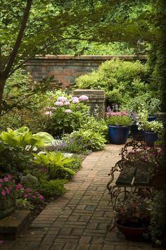 backyard ideas, shadi backyard, shady garden, brick, garden paths, outdoor gardens, garden design ideas, shade, backyard gardens