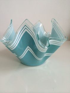 1969 Chance Glass handkerchief Vase in Turquoise. on Etsy, £15.00