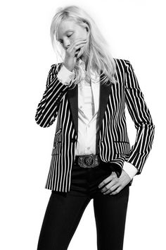 Diesel Black Gold | Resort 2015 black white vertical striped jacket & biker belt buckle