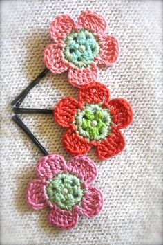 Crochet Flower Hair Pins Pink and Green Sparkle by CatWomanCrafts, $11.00