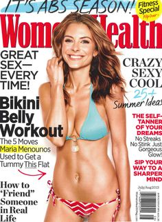 "Women's Health Magazine cover, July-August 2013 issue featuring celebrity Maria Menounos in a bikini for the story ""Bikini Belly Workout"". To contact TWX Magazine Customer Service by phone about your Womens Health (WOMENHEA) magazine subscription: 1- (877) 463-3032"