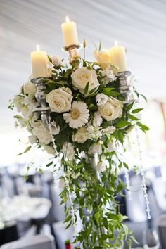 #Wedding Flowers Arrangements Dramatic White Centrepiece White Rose Design by Tori des Lauriers Gallery