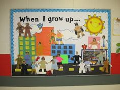 Community Helpers Labor Day Bulletin Board Idea - When I grow up ... children decorate a puppet printout