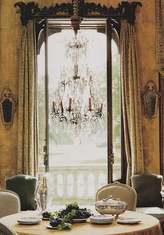 Beautiful French Decor dining room...I love the idea to extend our porch to put doors to the outs Side of the dining room decor, dining rooms, breakfast rooms, interior, chandeliers, door, window treatments, cornic, elegant dining