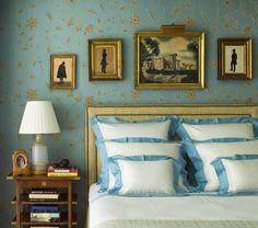 picture arrangements, connecticut, vintage, stars, silhouettes, bedrooms, pillows, blues, country