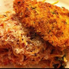 Tomato & Basil Pasta with Parmigiano/Romano, Garlic, & Panko encrusted chicken breast