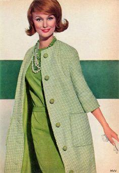 A wonderfully invigorating, cheerfully stylish 1960s hit of green fashion. #vintage #retro #1960s #fashion #green #dress #coat #hair
