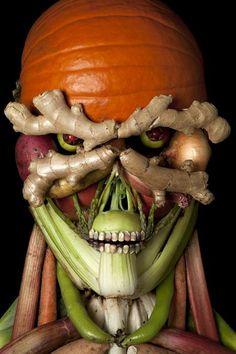 skull, body parts, pumpkin, leav, food design, healthy foods, foodart, food art, happy halloween