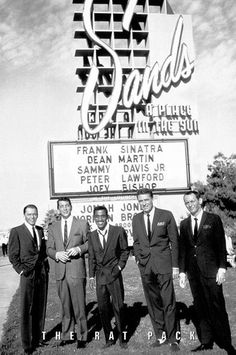 The Rat Pack, Las Vegas, 1960.  Frank Sinatra, Dean Martin, Sammy Davis Jr, Peter Lawford, Joey Bishop.