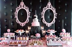 chá de bebê preto e rosa