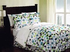 Pixel Bedding, Squares Bedding, Small Squares Bedding, green brown aqua and white bedding, teen bedding