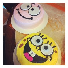 Sponge bob square pants and Patrick star cakes!  www.facebook.com/thecupcakers