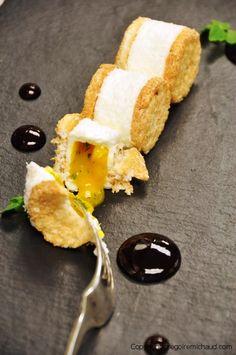 Biscuit Japonais a la coconut with melting mango/coriander heart. WOW! Gregoire Michaud