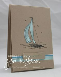 card idea, masculin card, father day, masculine cards, blue butterfli, tini blue, craft cards, sail away, happy fathers day
