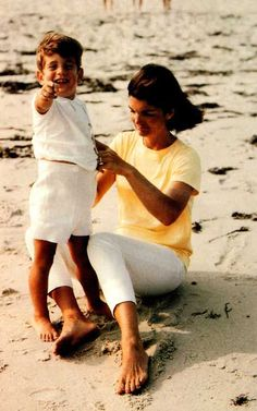 JFK jr. and his mom. Summer 1964
