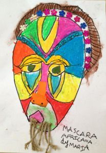 Mascara Africana- African Mask for kids, multicultural art and mix media project