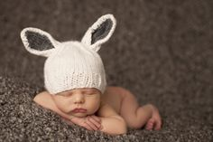 Scrumptious! Bunny Ears Knit Newborn Hat From Layla Grayce on the @LaylaGrayce Blog #laylagrayce #blog