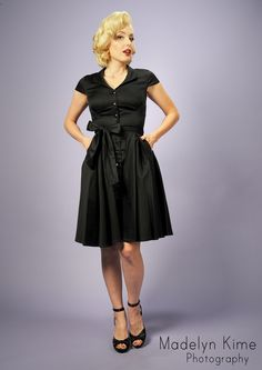 Pinup Couture Collette Button Down Dress in Black Sateen with Matching Sash Belt