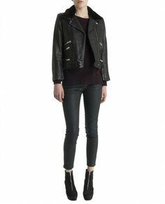 Leather biker jacket with sheepskin collar - Jacket - Women - The Kooples