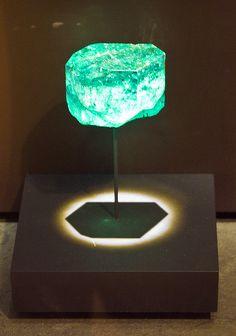 Gachala Emerald  The Gachala Emerald is an uncut 5-cm emerald crystal weighing 858 carats (172 g). The stone was found in 1967 at Vega de San Juan mine in Colombia and is named after the mining district where it was discovered. Now in the United States, it was donated to the Smithsonian Institution by the New York jeweler, Harry Winston.  Photo by Orbital Joe