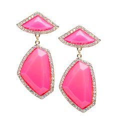 Jagged gemstone drop earrings in PINK!