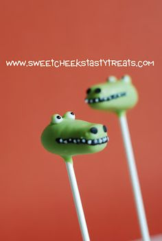 Alligator Cake Pops crocodiles, cakes, cake pops, pop crocodil, alligators, bday parti, baby showers, allig cakepop, themed parties