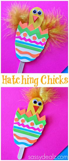 Easter Craft for Kids! Hatching Chicks in Easter eggs! #DIY | http://www.sassydealz.com/2014/03/hatching-chick-craft-using-popsicle-sticks-easter-egg.html