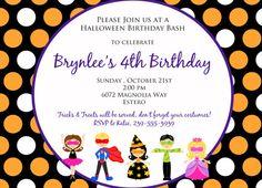 Halloween Kids Birthday or Costume party invitation