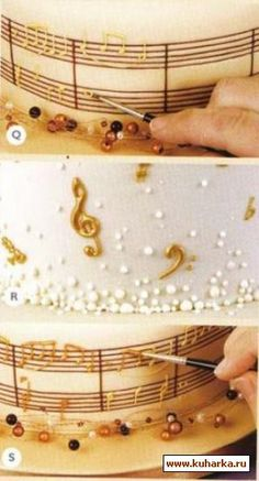 how to decorate a cake muses. Wish I could do this for a Spectacular Cake  for our Choir..
