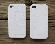 iPhone 4 Case 4S Cover Solid White Crocodile PU Leather Hard Case