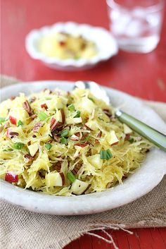 Spaghetti Squash with Apples and Toasted Pecan.  This looks so good! Maybe some blanched almonds and dried cranberries or dried cherries?