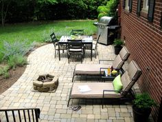 Idea for re-do of yard - but swap dining area for pond w/waterfall outback patio, curved outdoor patio, stone patio for grill, backyard stone patio